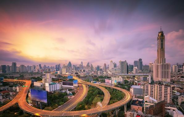 Картинка город, рассвет, здания, дороги, утро, Тайланд, Бангкок
