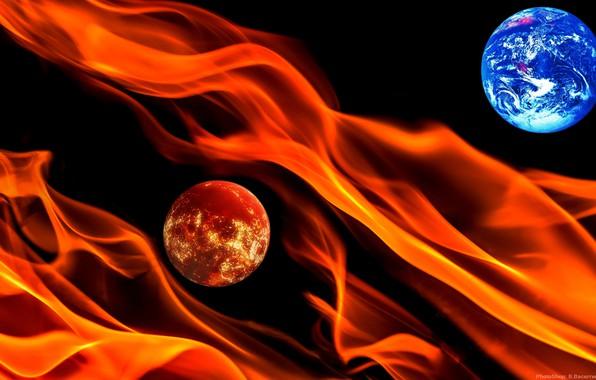 Картинка космос, огонь, планеты