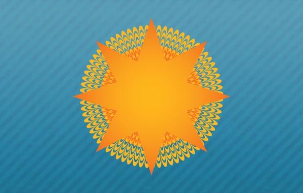 Картинка Солнце, Минимализм, Лучи, Фон, Арт, Иллюзия, Оптическая иллюзия