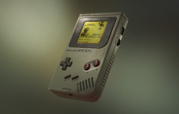 Картинка nintendo, render, fly, pokemon, gray background, gameboy