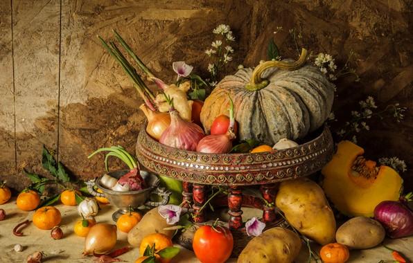 Картинка цветы, урожай, тыква, фрукты, натюрморт, овощи, autumn, still life, pumpkin, vegetables, harvest