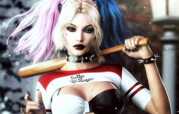 Картинка взгляд, рендеринг, арт, бита, Harley Quinn