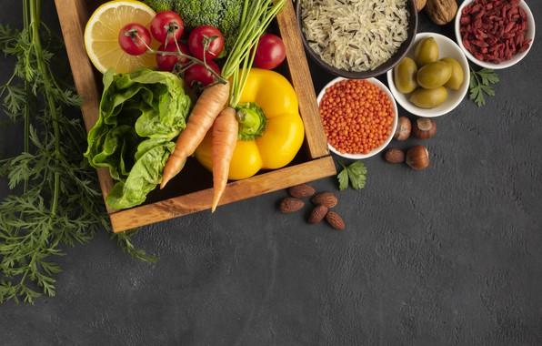 Картинка зелень, лимон, перец, рис, орехи, овощи, оливки, капуста, салат