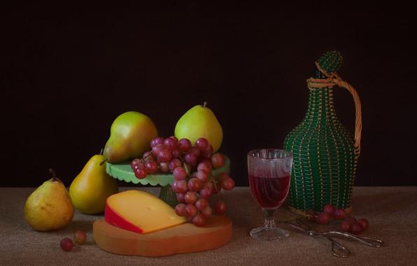 Фото обои сыр, виноград, натюрморт