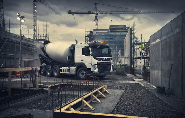 Картинка Volvo, бетономешалка, Вольво, грузовой автомобиль, Volvo Trucks, Volvo FM