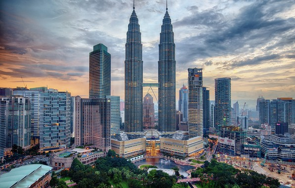 Картинка город, рассвет, утро, Малайзия, Куала Лумпур