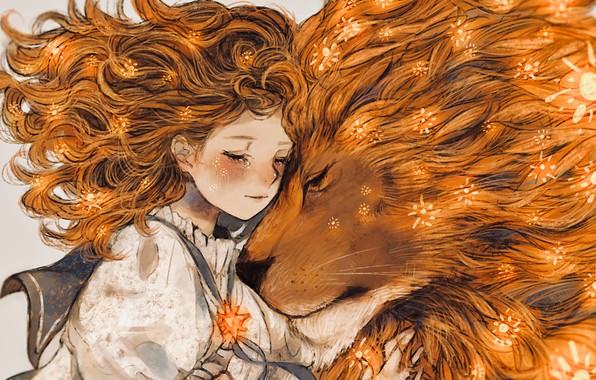 Картинка нежность, арт, девочка, Лев, ностальгия, очарование, НАСТРОЕНИЕ, Зодиак, Leo, сказочная картинка
