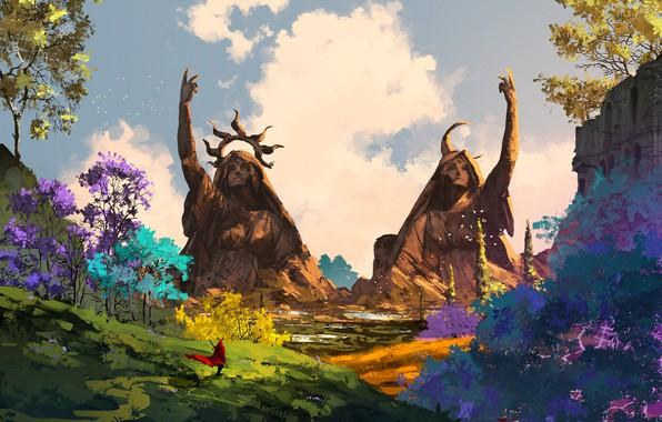 Картинка colorful, sword, fantasy, sky, trees, weapon, crown, clouds, man, artist, digital art, artwork, giant, environment, …