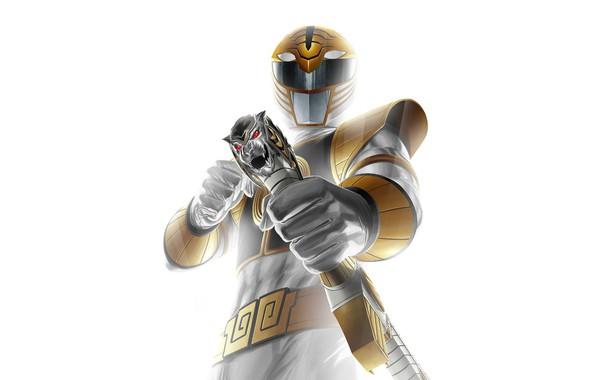 Картинка sword, armor, white tiger, Power Rangers, Saba, white ranger, Tommy Oliver