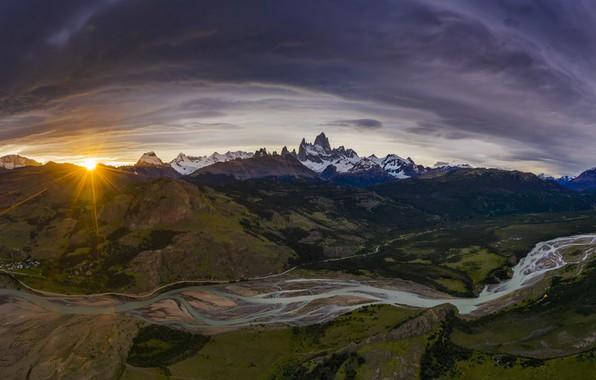 Картинка солнце, лучи, пейзаж, закат, горы, природа, река, Аргентина, Патагония