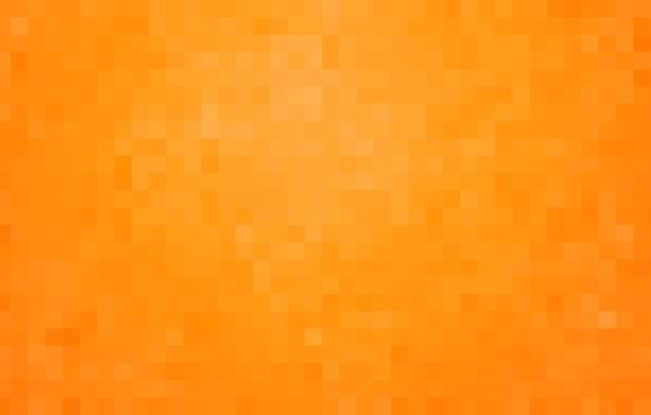 Картинка оранжевый, фон, обои, пиксели, квадрат