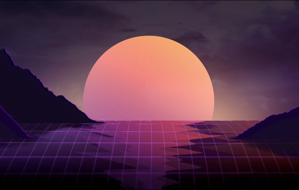 Картинка Солнце, Музыка, Звезда, Фон, Арт, 80s, 80's, Synth, Retrowave, Synthwave, New Retro Wave, Futuresynth, Синтвейв, …