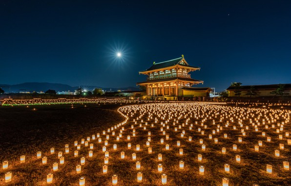 Картинка храм, Japan, фонарики, много, Nara Park