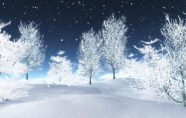 Картинка зима, снег, деревья, white, landscape, winter, snow, tree