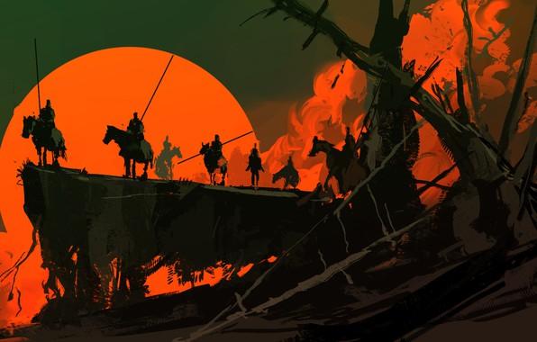 Картинка Закат, Солнце, Рисунок, Fantasy, Арт, Войны, Concept Art, Dominik Mayer, Environments, by Dominik Mayer, The ...