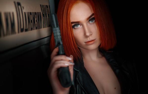 Картинка взгляд, пистолет, Девушка, рыжая, Эльвира Позднышева, Alexander Drobkov-Dark