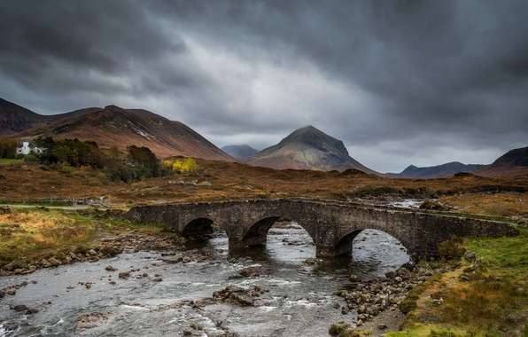 Картинка house, river, sky, bridge, land, mountains, clouds, rocks, landscapes, Iceland, gray, stream, cloudy, 4k uhd …
