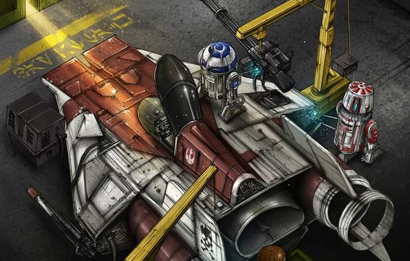 Картинка Рисунок, Истребитель, Star Wars, R2D2, Art, Звездные Войны, Illustration, R2-D2, Comic Art, Droids, Дройды, by ...
