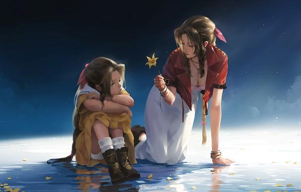 Картинка fantasy, game, Final Fantasy 7, flower, girls, water, leaves, tears, artist, digital art, artwork, fantasy …