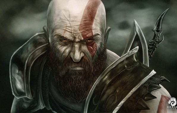 Картинка Лицо, Воин, Fantasy, Арт, Art, Kratos, God of War, Фантастика, Кратос, Illustration, Персонаж, Бог войны, …