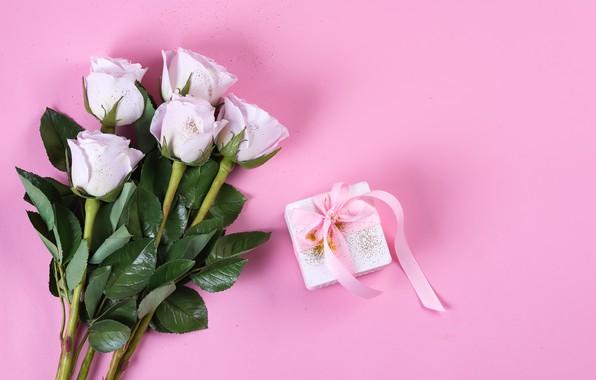 Картинка фон, розовый, день рождения, подарок, букет, лента