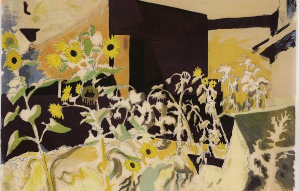 Картинка 1942, Charles Ephraim Burchfield, Sunflowers and Red Barn