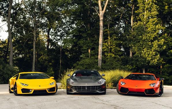 Картинка Lamborghini, Ferrari, Orange, Yellow, Aventador, Gray, Berlinetta, F12, VAG, Huracan