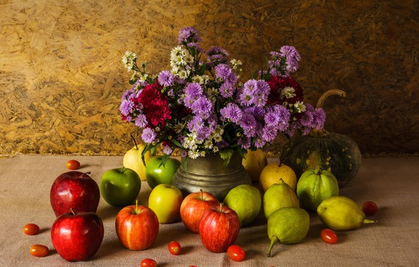 Картинка цветы, яблоки, букет, тыква, фрукты, натюрморт, овощи, груши, flowers, fruit, still life, vegetable