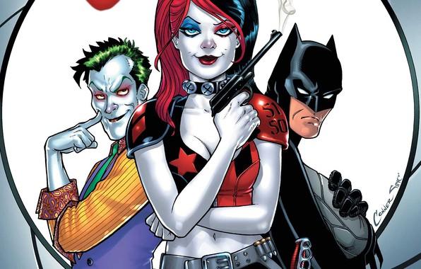 Картинка gun, fantasy, Batman, weapon, Joker, comics, artwork, mask, superheroes, DC Comics, Harley Quinn, cape