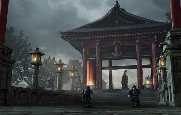 Картинка огонь, столбы, доспехи, ворота, Япония, фонари, лестница, сумерки, японская одежда, art, усадьба, на коленях, самураи, ...
