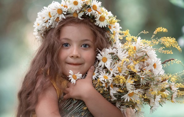 Картинка взгляд, цветы, лицо, ромашки, букет, девочка, венок, длинные волосы, настрение, Екатерина Годова