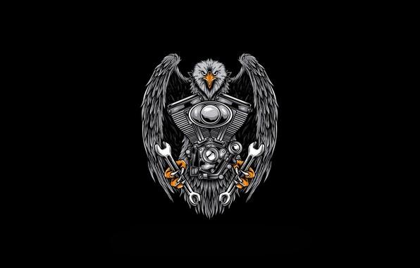 Картинка Минимализм, Ключ, Птица, Стиль, Орел, Фон, Мотор, Двигатель, Арт, Art, Style, Background, Ключи, Minimalism, Орёл, …