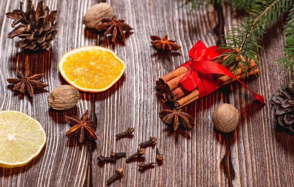 Картинка фото, Доски, Новый год, Апельсин, Еда, Шишки, Корица, Грецкий орех