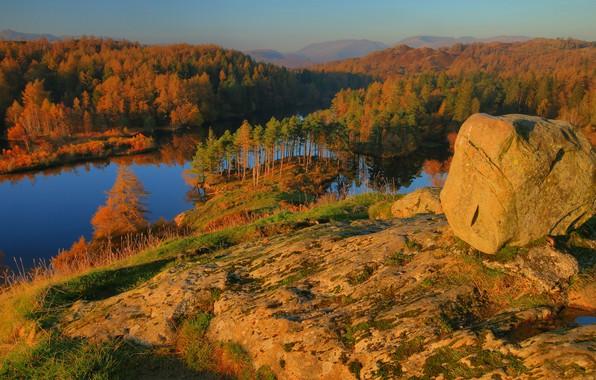 Картинка осень, горы, камни, склон, валуны, золотая осень
