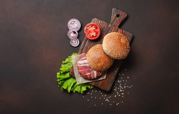 Картинка лук, мясо, гамбургер, булочки, разделочная доска