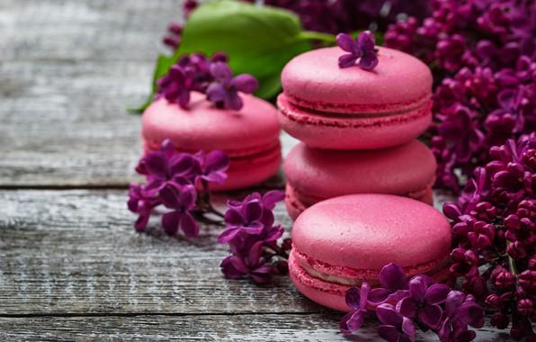 Картинка wood, pink, flowers, сирень, macaroons, macaron, lilac, макаруны
