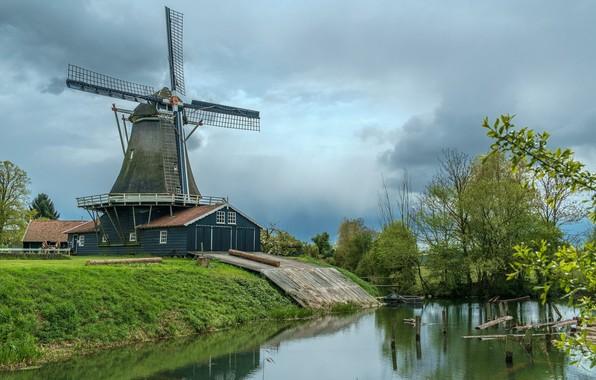 Картинка зелень, небо, деревья, река, мельница