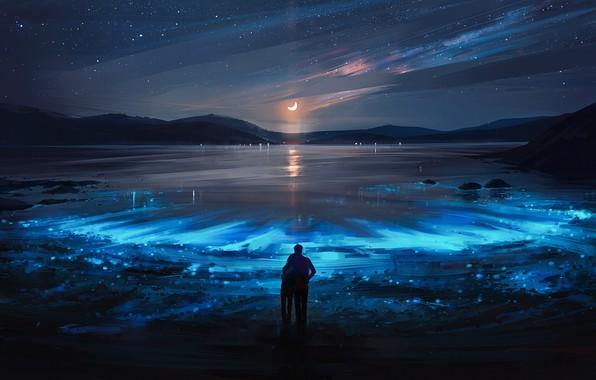 Картинка girl, moon, sky, landscape, night, art, lake, stars, boy, mood, couple, artist, digital art, artwork, …