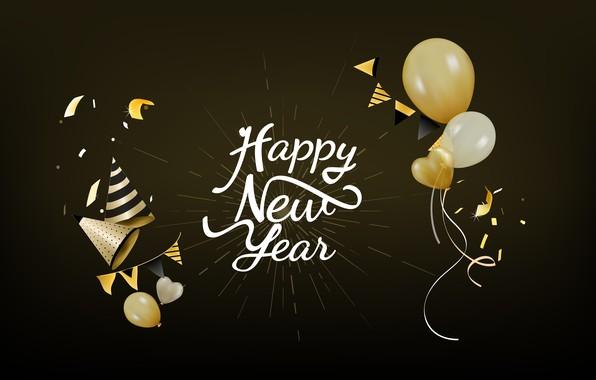 Картинка праздник, шары, новый год, черный фон, new year, decoration, Happy, Celebration