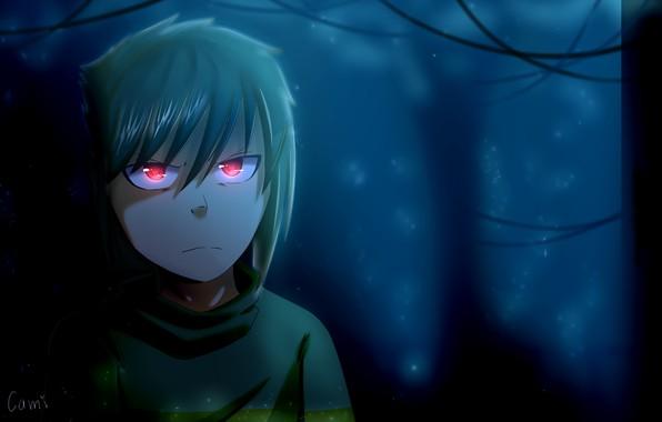 Картинка красные глаза, мрачный лес, в темноте, злобный взгляд, проклятое место, физиономия, Undertale, Chara