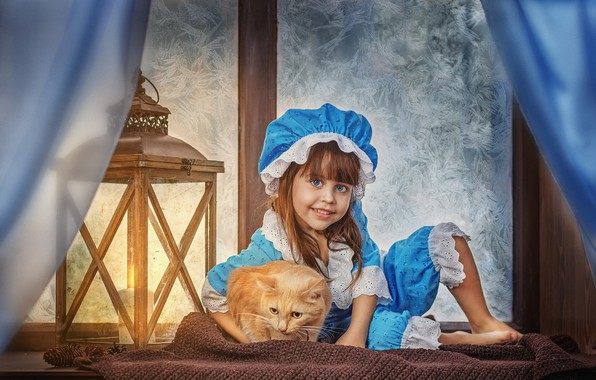 Картинка зима, кошка, кот, улыбка, животное, шарф, окно, мороз, костюм, девочка, фонарь, занавески, подоконник, шишки, ребёнок, …