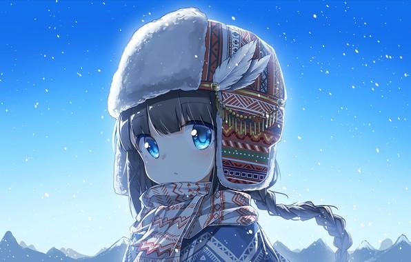 Картинка шапка, шарф, девочка, малышка