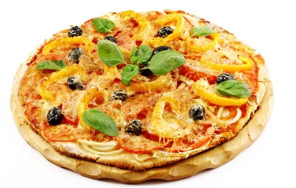 Картинка белый фон, пицца, поднос