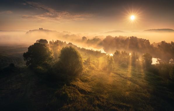 Картинка лучи, туман, река, восход, Солнце, river, rays, sun, fog, sunrise, Karol Nienartowicz