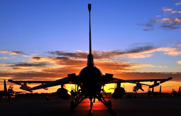 Картинка twilight, sky, aircraft, sunset, F-16, clouds, aviation, General Dynamics F-16 Fighting Falcon, silhouette, F-16 Falcon, …