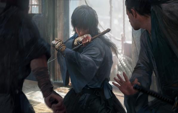 Картинка катана, японская одежда, art, поединок, бинты, Samurai X, Rurouni Kenshin, Himura Kenshin, Бродяга Кеншин, Bruce …