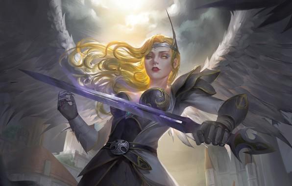 Картинка взгляд, девушка, оружие, крылья, ангел, меч, доспехи, фэнтези, арт, angel