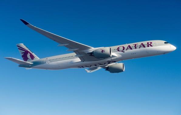 Картинка Airbus, Qatar Airways, Airbus A350-900, Пассажирский самолёт, Airbus A350 XWB