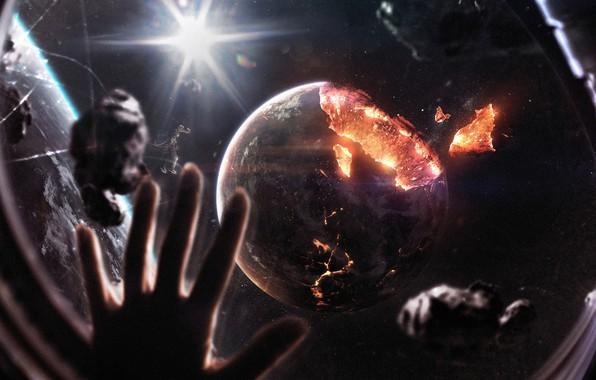 Обои Звезды, Скафандр, Станция, Человек, Планета, Космос, Звезда, Рука, Планеты, Астронавт, Костюм, Апокалипсис, Осколки, Космонавт, Planets, ...