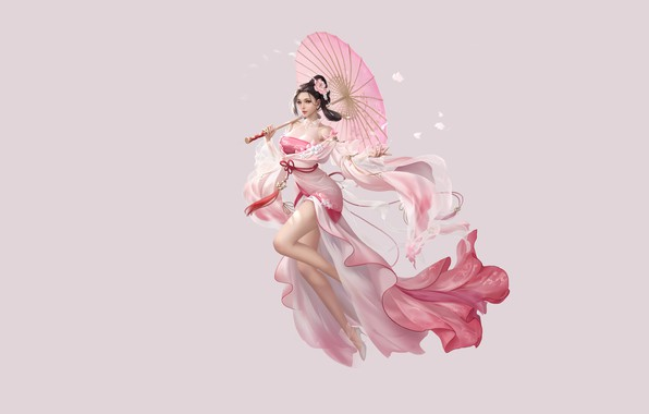Картинка Girl, Fantasy, Beautiful, Art, Asian, Style, Umbrella, Illustration, Asia, Characters, Dress, 3Q STUDIO